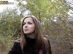 Abi in the woods sucking dick like a naughty amateur