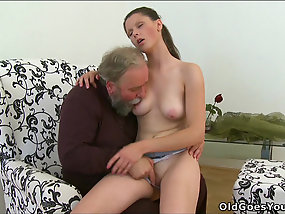 Brunette Gets Cock Between Natural Tits In Old And Young